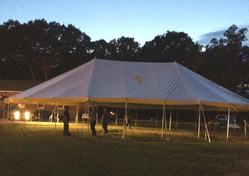 48X70 like new revival tent for sale